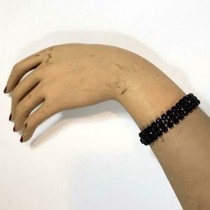 Vintage black rhinestone gothic bracelet!